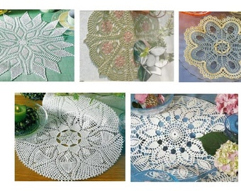 5 pcs crochet doily pattern-only diagram-in pdf-29