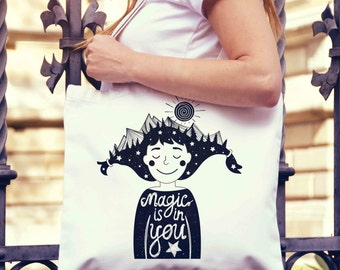 Magic is in You Girl Mountains Tote Bag | Shopping Bag | Reusable Market Bag | Birthday Gift For Her & Him | Shopper Bag | Beach Grocery Bag