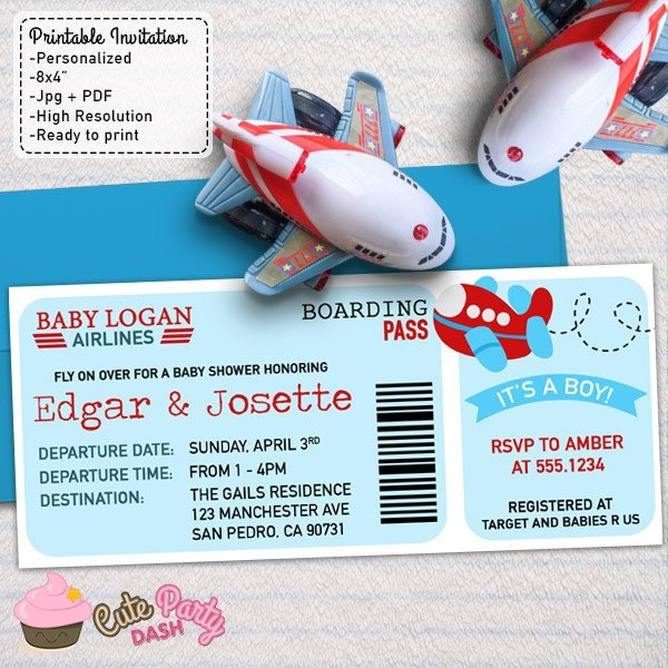 Airplane Ticket Boarding Pass Birthday Invitation: Airplane Baby Shower Boarding Pass Ticket Invitations DIY