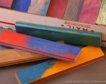 Dyed Wood Laminate Scraps - Small Strips