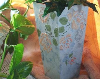 Dry Arrangement Vase - Embossed Rose Motif