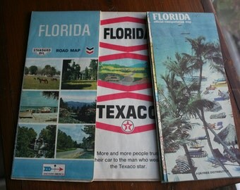 Vintage Florida Travel Maps - Lot of 3, Crafting Supply