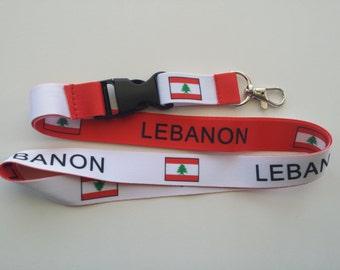 Lebanon falg reverisble lanyard