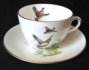 England Crown Staffordshire Fine Bown China Cup & Saucer Quail Pheasants