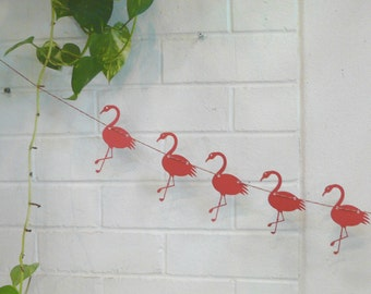 Bright Pink Flamingo Garland - Photo Booth Props Bunting