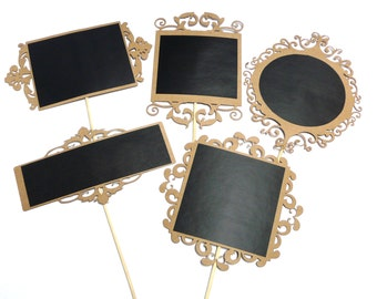 Photo Booth Props -  5PC Filigree Chalkboard Photo Booth Props