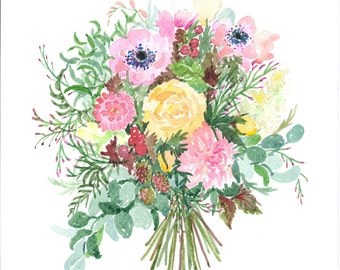 A4 floral watercolour print REQUEST PERSONALISED BOUQUET