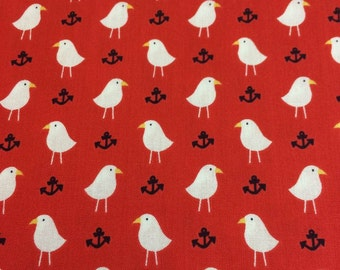 Studio E Quilting Cotton Ahoy Matey Seagulls in Red by MaryJane Mitchell