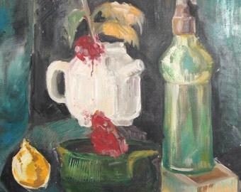 Vintage postimpressionist oil painting still life