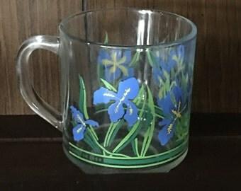 1984 Carlton Luminarc Blue Flower Iris Mug
