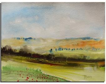 "Original Watercolor painting by Tatjana Ruzin, Tuscany 10""X8""  Original Painting Abstract Landscape Painting Original Art, Birthday Gift"