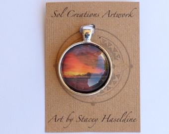 Sunset Pendant, Pendant, Art, Art Feature, Glass pendant