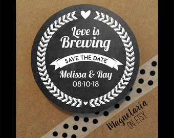 Love is Brewing Beer Wedding Save the Date Magnets, Wedding Save the Date, Save the Date Magnets, 2.25 inch Magnets