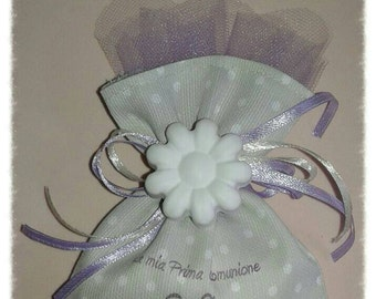 Wedding favor bag with chalk for birth, baptism, first communion