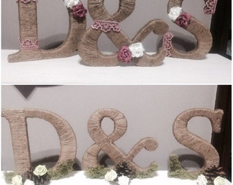 Twined rustic vintage initials for top table