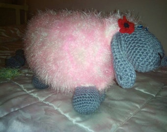 Knitted sheep pillow/soft toy