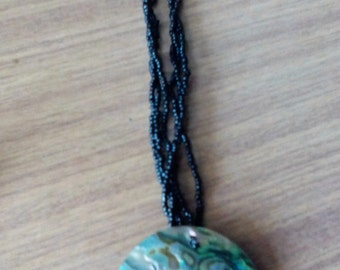 Vintage Paua and black seed bead Necklace