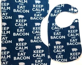 Keep Calm and Eat Bacon Baby Gift Set, Bacon Baby Bib, Bacon Burp Cloth, Contoured Burp Cloth, Keep Calm Baby Gift