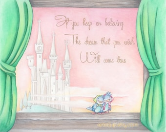 Cinderella print, castle, quote, gift, disney, painting, art, wall art, home decor, nursery