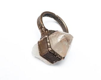 Quartz Point Ring | Clear Quartz Ring | White Crystal Ring | Quartz Statement Ring