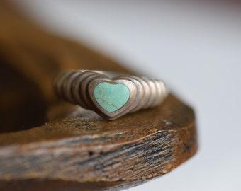 Beautiful Heart Shape Vintage Silver 925 Band Turquoise Heart Stone, US Size 8.25, Used