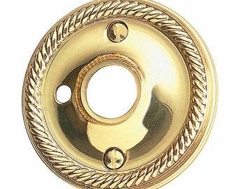 Pair Rosette Bright Solid Brass 2 12 Braided Knob Privacy | Renovators Supply