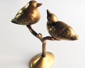 Vintage Brass Birds on a Branch Statue / Figurine
