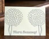 Merci Mums Card. Letterpressed.