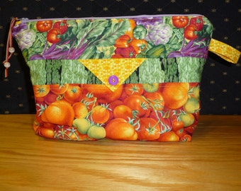 Medium vegetable themed project bag, FREE SHIPPING!!,  cosmetic bag, Kindle or e reader bag, Knitting bag