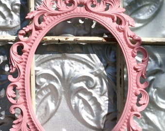 Ornate Oval Baroque Frame/ Wedding Photo Booth Prop/ Wedding Photography Prop/ Large Ornate Pink Frame/ Nursery Frame Decor/ Frame Only