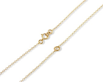 "14k Gold Plated Sterling Silver 1mm Cable Chain 12"", 14"", 16"", 18"", 20"", 22"", 24"""
