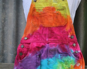 Hand made rainbow tie dye overalls. ladies small.