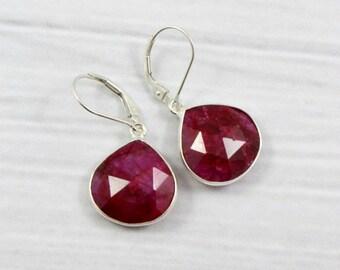 Sterling Silver Earrings, Ruby Earrings, Dangly Earrings, Drop Earrings, Gift for her, Gift for Mom, July Birthstone, Dangle Earrings,
