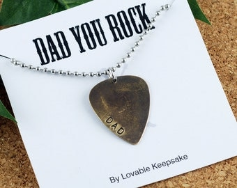 Personalized - Mens Guitar Pick Necklace - Fathers Day - Mens Necklace - Mens Jewelry -  Gift For Dad - Personalized Dad Gift