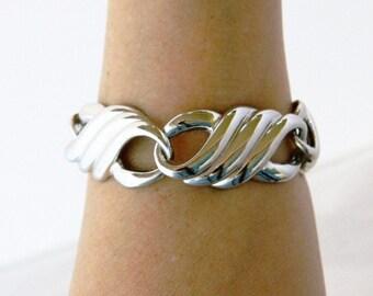 "Chunky Vintage Geometric Statement Bracelet Chain Link Silver Tone Retro Costume Jewelry 8"""