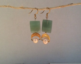 Greenstone and crescent earrings