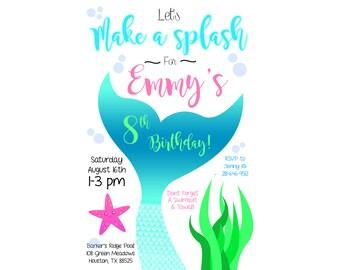 Mermaid Tail Swim Party Invitation