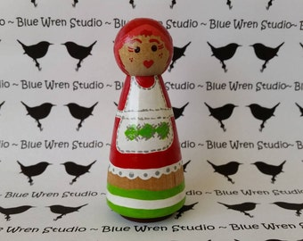 Wooden Peg Dolls - Rainbow Brite or Strawberry Shortcake x 1