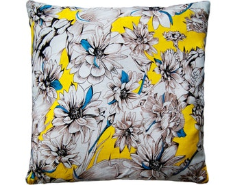 Handpainted cushion cover - Yellow and Turquoise Floral
