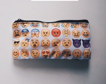 Zipper Pouch, Pencil Pouch, Pencil Case, emoji emoticon  tumblr