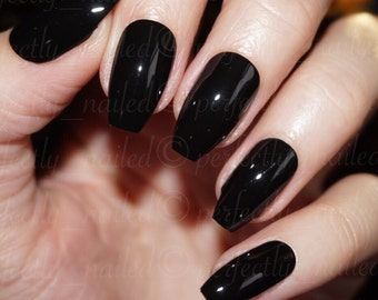Glossy black Handpainted False Nails • Fake Nails • Press on Nails • Stick on Nails