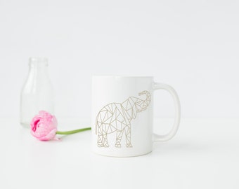 Chic Geometric Beige 11oz Elephant Mug