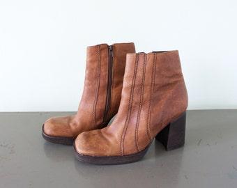 Vintage Platform Ankle Boots - Size 7M - Brown Leather