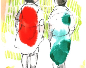 Two women red and green illustration