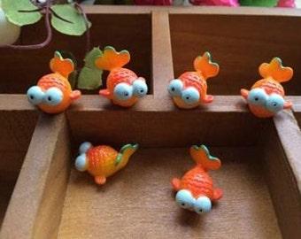 Carp, Set of 3 Terrarium Figurine Animals for Fairy Garden, Bonsai Micro Garden Terrarium Scrapbook Jewelry Supplies