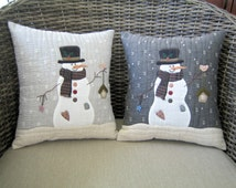 Christmas Cushions - Snowman and Bird Cushion