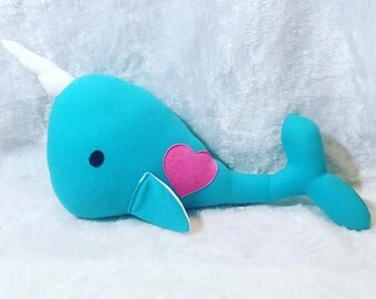 "Giant Plush Narwhal Stuffed Animal - 30"" Long, 18"" Tall; Made to Order"