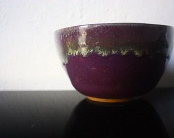 Purple and gold ceramic bowl - beautiful handmade clay pottery