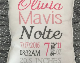 Birth info Pillow