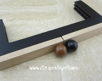 "Natural Black Wood Purse Frame, Bag Handle 9.84"" x 4.72"""